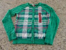 NEW Merona Womens Plaid Green White Pink Cardigan Sweater Size XS XL