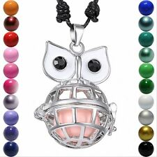 BIG Eye Owl Locket Pendant Harmony Ball Aromatherapy Angel Caller Necklace HOT