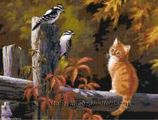 Watching the Woodpeckers ~ Cats, Kittens, Birds ~ Counted Cross Stitch Pattern