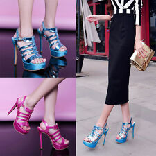 Womens Slingback Sandals Cut Out Open Toe Platform Stiletto Party Shoes Heels