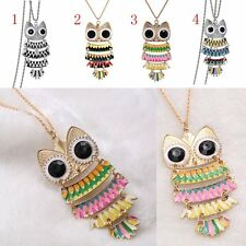 New Women Multicolour Rhinestone OWL Animal Hollow Pendant Long Chain Necklace
