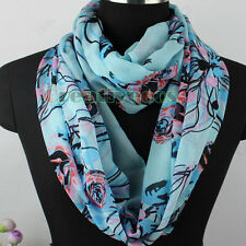 Womens Vintage Chiffon Scarf Rose Floral Painting Infinity Circle Loop Scarf New