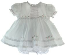 Infant Girls White Pink Dress Set with Bloomers Friedknit by Feltman