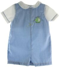 Baby Boys Blue Gingham Helicopter Romper John John Outfit | Petit Ami