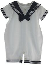 Infant Boys White Navy Knit Sailor Romper Outfit
