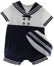 Newborn Boys White Navy Sailor Romper & Hat Nautical Set Sarah Louise