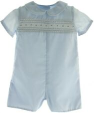 Infant Boys Blue Smocked Christening Outfit - Petit Ami