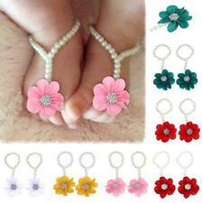 Infant Baby Kids Pearl Flower Chiffon Barefoot Toddler Foot Beach Sandals Anklet