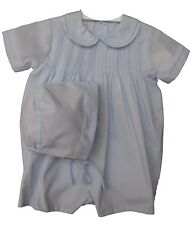 Infant Boys Blue Romper & Hat Set with Pintucks Petit Ami
