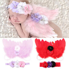 Newborn Kids Baby Feather Angel Wings Flower Hair Band Photography Prop Angelic