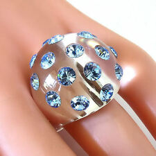 New Clear Acrylic Domed Ring Blue Swarovski Elements Crystal On Dome Luna Bianca