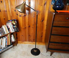 Mid-Century Modern Gooseneck Floor Lamp Brass Cone Shade 5ft. Tall Working