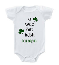 A Wee Bit Irish CUSTOM NAME Infant Toddler Baby Cotton Bodysuit One Piece