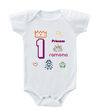 Pink First Birthday With Princess Custom Infant Toddler Baby Bodysuit One Piece