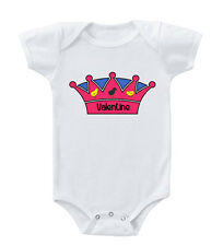 Pink Crown With Chicks Custom Name Infant Toddler Baby Cotton Bodysuit One Piec