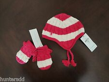 NWT Ralph Lauren Infant Girls Striped Earflap Hat & Mittens Set 3/6m NEW $55