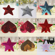 sequins heart motif iron/sew on embroidered patch Cloth badge applique diy JGCA