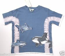 BNWT Boys Monsoon Cotton Short Sleeve Blue T-Shirt Shark Design Top Age 4-6
