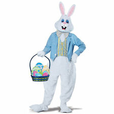 Deluxe Easter Bunny Rabbit Mascot Costume White Head with Ears Vest Tie Adult