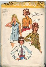 5022 Vintage Simplicity Sewing Pattern Misses Set of Blouse Tie 1970's Casual