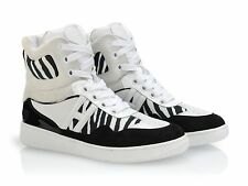Hogan Katie Grand sneakers in white/black zebrine leather and fabric shoes