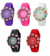 NEW GENEVA BLING GLITZ FLOWER CRYSTALS ON BEZEL,SOLID SILICONE LADY'S WATCH