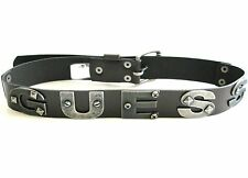 "NEW BROWN GENUINE LEATHER+AGED SILVER TONE ""GUESS""+STUDS+SCREWS BELT-30,32,34,36"