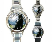 Italian Charm Metal Watch Round Square black Cat 593 art painting L.Dumas