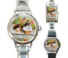 Italian Charm Metal Watch Round Square Cat 595 Tortoiseshell art L.Dumas