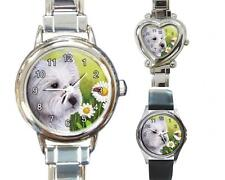 Italian Charm Metal Watch Round Square Dog 83 White Westie art painting L.Dumas