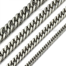 7/9/12/15mm MENS Chain Double Curb Link Silver Tone Stainless Steel Necklace HOT