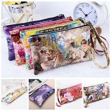 Women Lady PU Leather Coin Bag Case Card Holder Phone Zip Clutch Wallet Purse HU