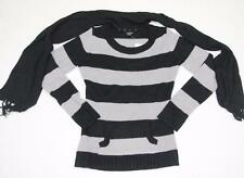 Womens Sweater Striped Gray Black with Detatchable Scarf NWT