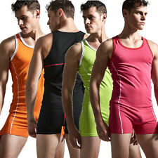 Mens Sexy One-Piece Tracksuit Bodysuit Boxer Briefs Underwear Tank top Nightwear