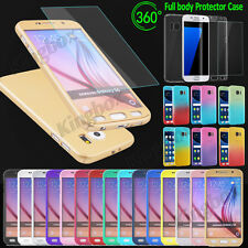 360° Full Protector Acrylic Hard Cover Case + Tempered Glass for Samsung &iPhone