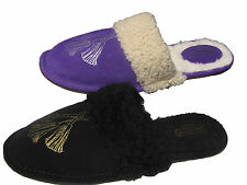 Coach Womens Dina Black Or Purple Suede Shearling Casual House Shoes Slippers