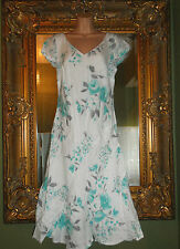 Ladies Per una white turquoise floral linen summer sun dress size 12 regular