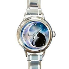 Round or Square Metal or Italian Charm Watch black Cat 580 art painting L.Dumas