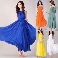 Women Lady Summer Boho Long Maxi Evening Party Beach Dress Chiffon Dress Belted