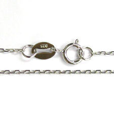 """Rhodium plated Sterling Silver oval ring ROLO Link Cable Chain Necklace 16"""" /18"""""""