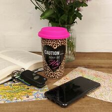Leopard Print Travel Mug Double Wall Reusable Flask Silicone Lid Car Takeaway