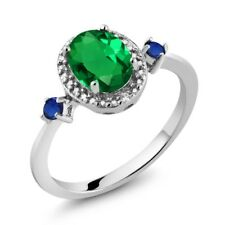1.11 Ct Green Simulated Emerald Blue Simulated Sapphire 925 Sterling Silver Ring