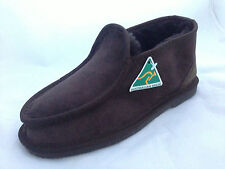 AUSTRALIAN MADE GENUINE SHEEPSKIN MENS SLIPPER UGG BOOT SHOE CHOCOLATE + BLACK