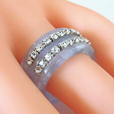 Blue & Grey Acrylic Band Ring 2 Rows Swarovski Elements Crystal By Luna Bianca
