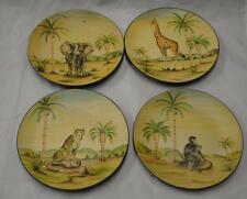 "Decor Set of 4 Plates Watercolor JUngle Safari Elephant Monkey Lion 8.5"" 662 NEW"
