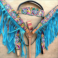 HILASON WESTERN LEATHER HORSE BRIDLE HEADSTALL BREAST COLLAR HAND PAINT FRINGES