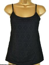 Ex-*andS Ladies/Teenagers Beautiful Black Lace Fully Lined Strappy Top sz  8