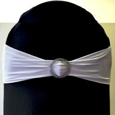 NEW Glitter Buckle Lycra Chair Cover Band Black White Wedding Party Decorations