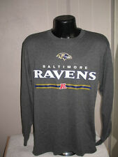 NFL Baltimore Ravens Football Long Sleeve Logo T Shirt Mens Majestic Gray  Nwt