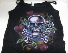 Ladies Tattoo Skull Burnout Tank Top - Biker Shirt 3 Sizes fnt